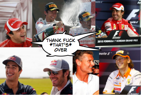 F1 drivers laughing