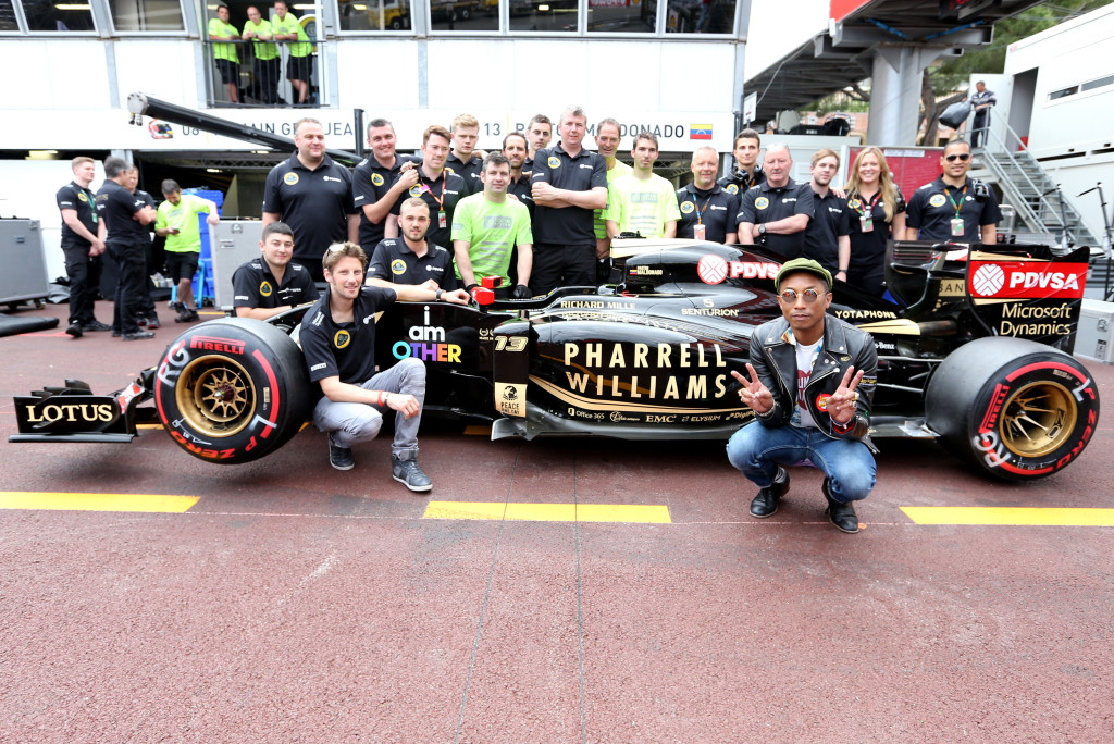 Monte Carlo, Monaco - Pharrell Williams with the Lotus E23