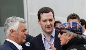 Derek Warwick, Jackie Stewart and George Osborne at the British Grand Prix