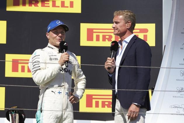 Valterri Bottas stands on 2017 F1 Hungarian Grand Prix podium