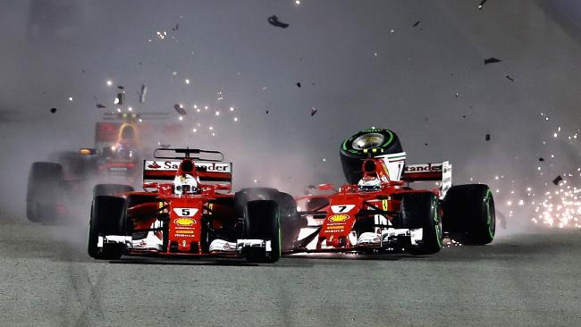 Sebastian Vettel and Kimi Raikkonen collide at the start of the 2017 Singapore Grand Prix