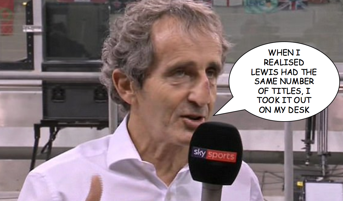 Alain Prost interviewed at 2017 Abu Dhabi Grand Prix with nose injury