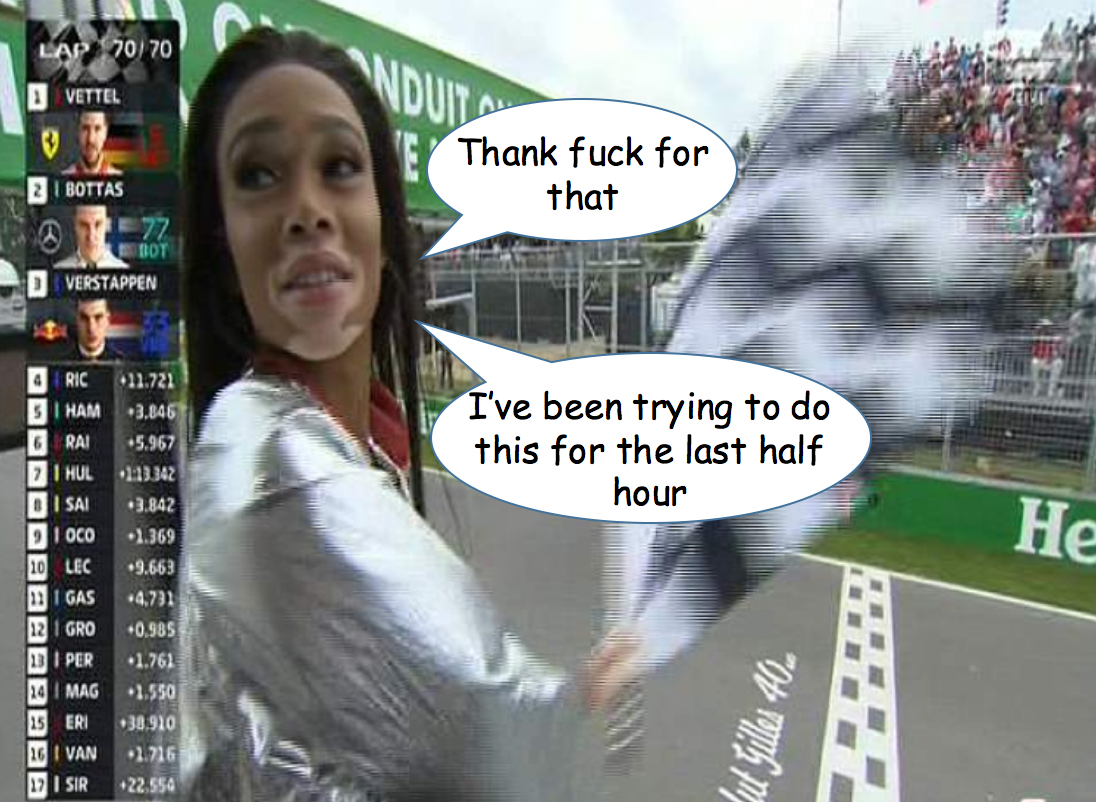 Winnie Harlow waves chequered flag 2018 Canadian Grand Prix