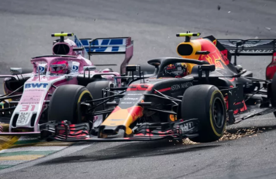 Esteban Ocon and Max Verstappen crash at 2018 Brazilian Grand Prix