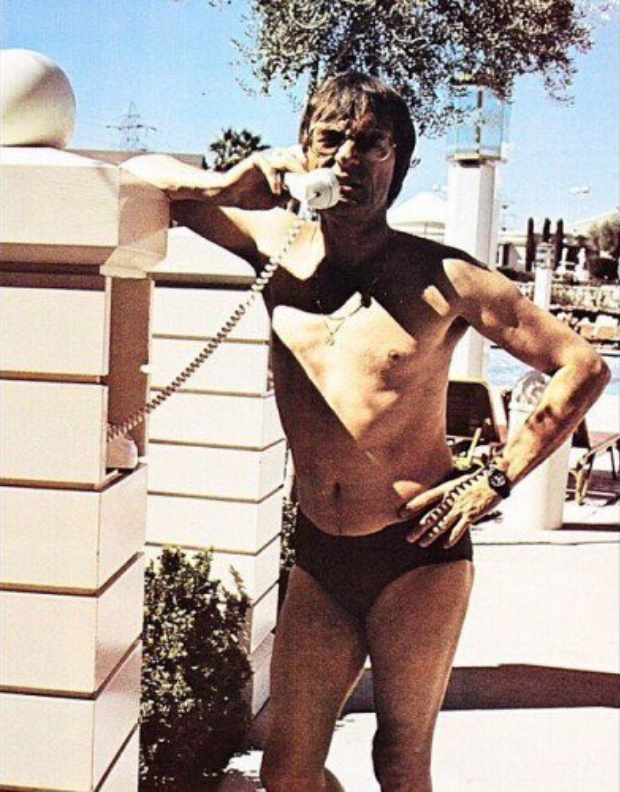 Bernie Ecclestone in his Speedos