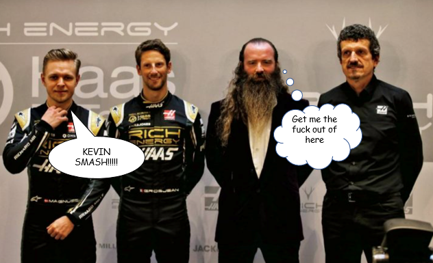Haas livery launch - Rich Energy: Kevin Magnussen, Romain Grosjean, William Storey, Gunther Steiner