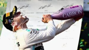 Valtteri Bottas celebrates atop the Melbourne 2019 F1 podium