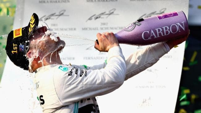 Valtteri Bottas celebrates atop the Melbourne 2019 F1 podium