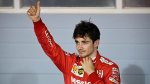 Charles Leclerc acknowledges applause