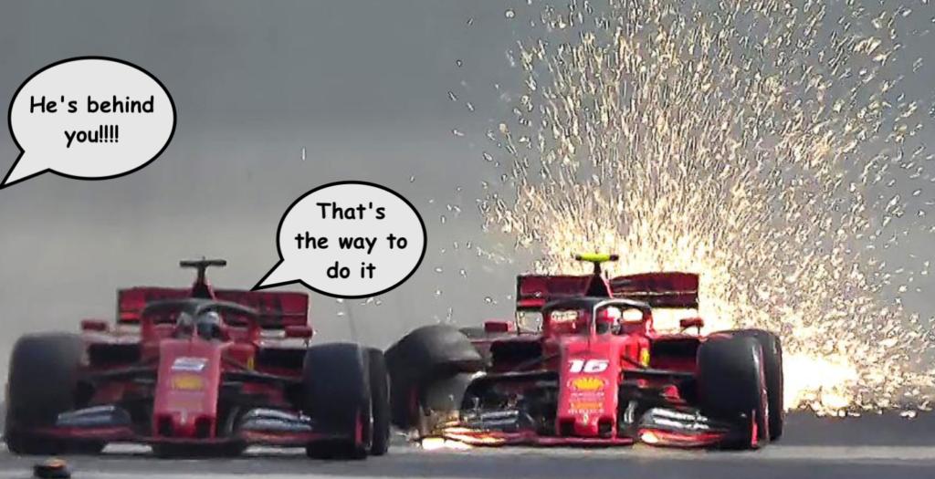 Ferrari team-mates Sebastian Vettel and Charles Leclerc collide at the 2019 Brazilian Grand Prix in Sao Paolo