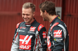 Grosjean and Magnussen laughing, Haas