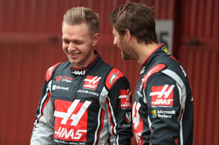 Grosjean and Magnussen laughing, Haas