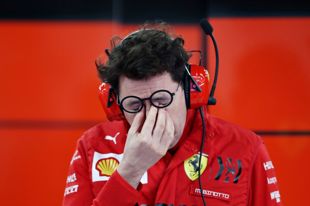 Mattia Binotto pinching nose